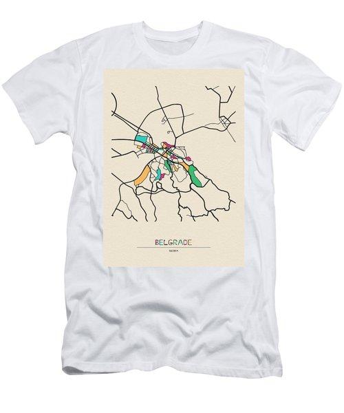 Belgrade, Serbia City Map Men's T-Shirt (Athletic Fit)