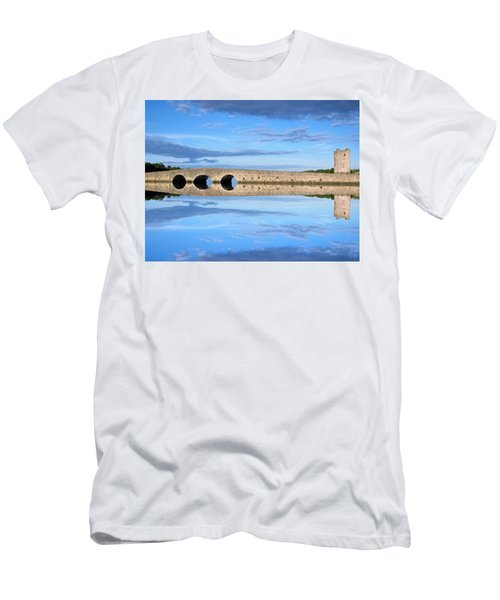 Men's T-Shirt (Athletic Fit) featuring the photograph Belvelly Castle Reflection by Joan Stratton