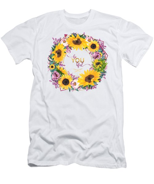 beYOUtiful floral wreath typography art Men's T-Shirt (Athletic Fit)