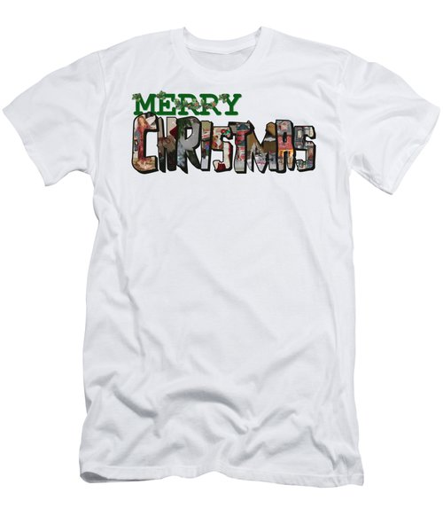 Big Letter Merry Christmas Men's T-Shirt (Athletic Fit)