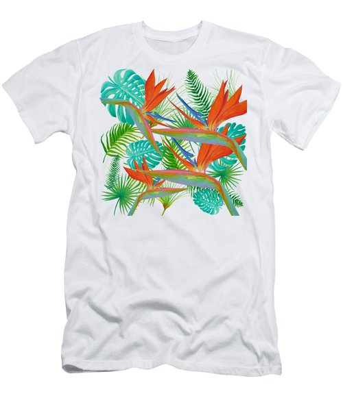 Bird Of Paradise Flower And Tropical Leaves And Ferns Men's T-Shirt (Athletic Fit)