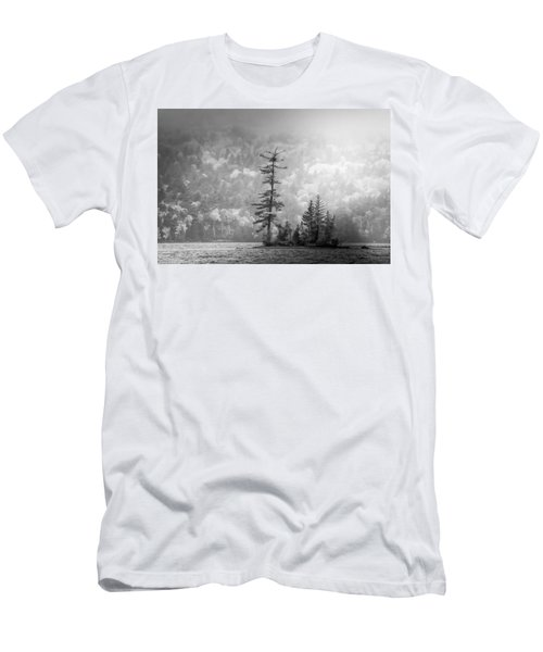 Men's T-Shirt (Athletic Fit) featuring the photograph Black And White Moody Morning Moosehead Lake by Dan Sproul