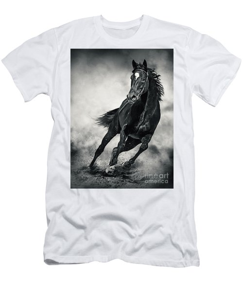Men's T-Shirt (Athletic Fit) featuring the photograph Black Horse Running Wild Black And White by Dimitar Hristov