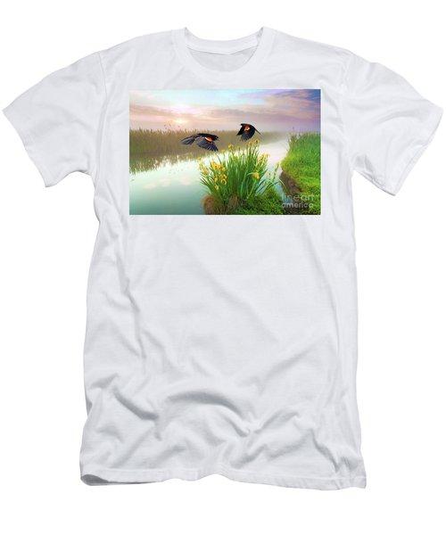 Blackbirds Dance With Iris Men's T-Shirt (Athletic Fit)