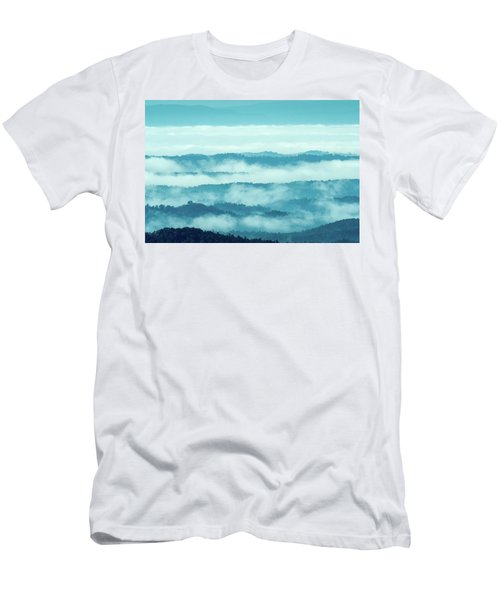 Blue Ridge Mountains Layers Upon Layers In Fog Men's T-Shirt (Athletic Fit)