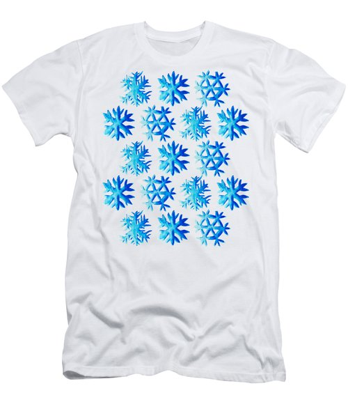 Blue Watercolor Snowflakes Pattern Men's T-Shirt (Athletic Fit)