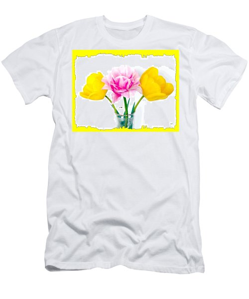 Bordered Painted Tulips Men's T-Shirt (Athletic Fit)