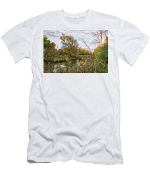 Men's T-Shirt (Athletic Fit) featuring the photograph Bridge Over Ellicott Creek by Guy Whiteley