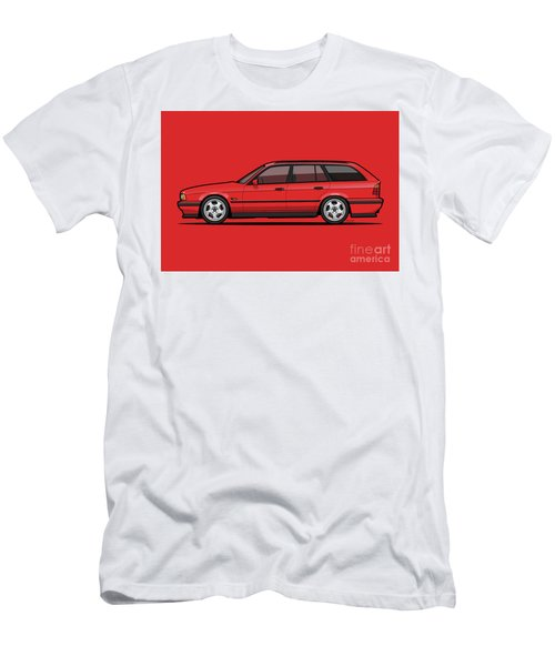 Brilliant Red Bavarian E34fuenfer Wagon Kombi Men's T-Shirt (Athletic Fit)