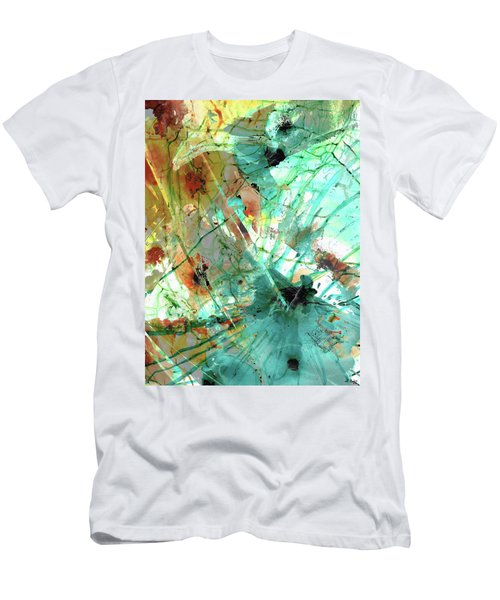 Brown And Teal Abstract Art - Give And Take - Sharon Cummings Men's T-Shirt (Athletic Fit)