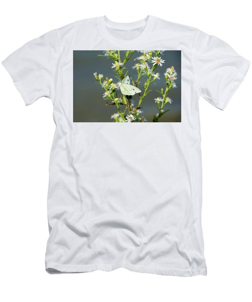 Cabbage White Butterfly On Flowers Men's T-Shirt (Athletic Fit)