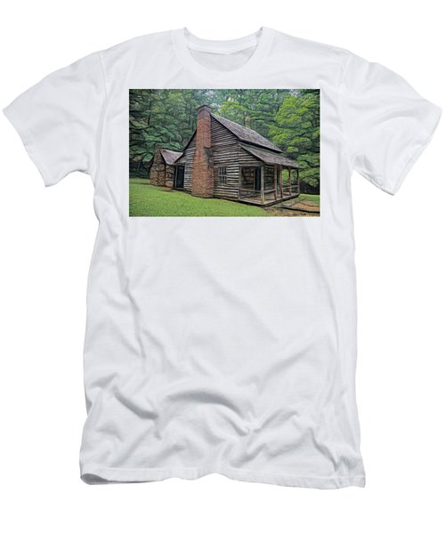 Men's T-Shirt (Athletic Fit) featuring the digital art Cabin In The Woods - Fractals by Ericamaxine Price