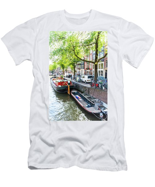 Canal Boats In Amsterdam Men's T-Shirt (Athletic Fit)