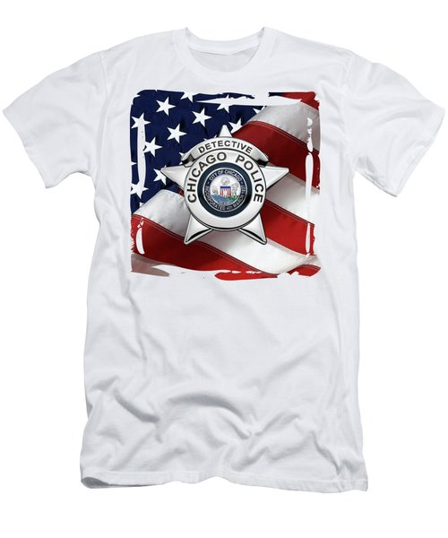 Chicago Police Department Badge -  C P D  Detective Star Over American Flag Men's T-Shirt (Athletic Fit)