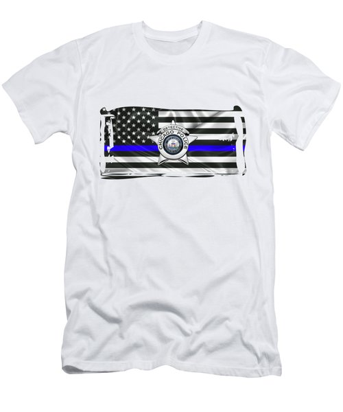 Chicago Police Department Badge -  C P D  Detective Star Over The Thin Blue Line Flag Men's T-Shirt (Athletic Fit)