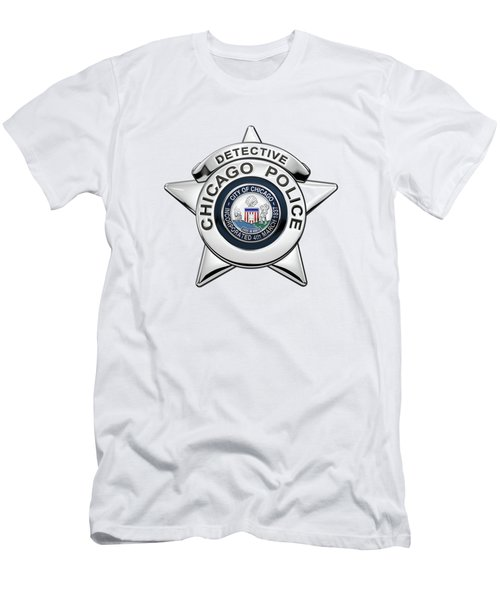 Chicago Police Department Badge -  C P D  Detective Star Over White Leather Men's T-Shirt (Athletic Fit)