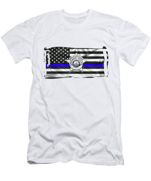 Chicago Police Department Badge -  C P D   Police Officer Star Over The Thin Blue Line Flag Men's T-Shirt (Athletic Fit)