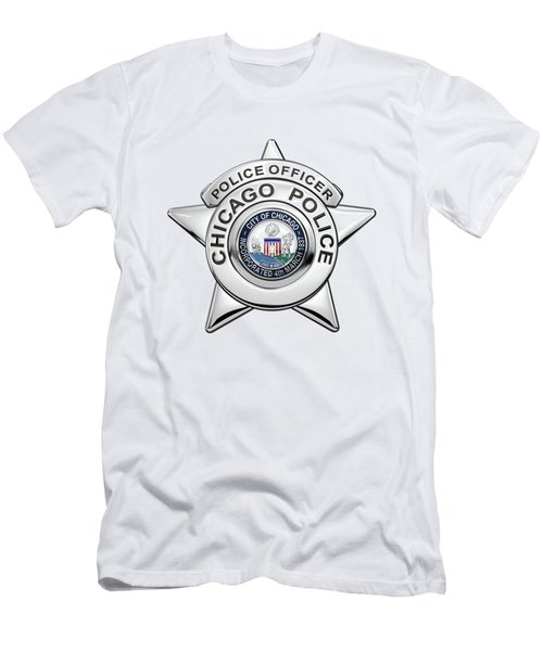 Chicago Police Department Badge -  C P D   Police Officer Star Over White Leather Men's T-Shirt (Athletic Fit)