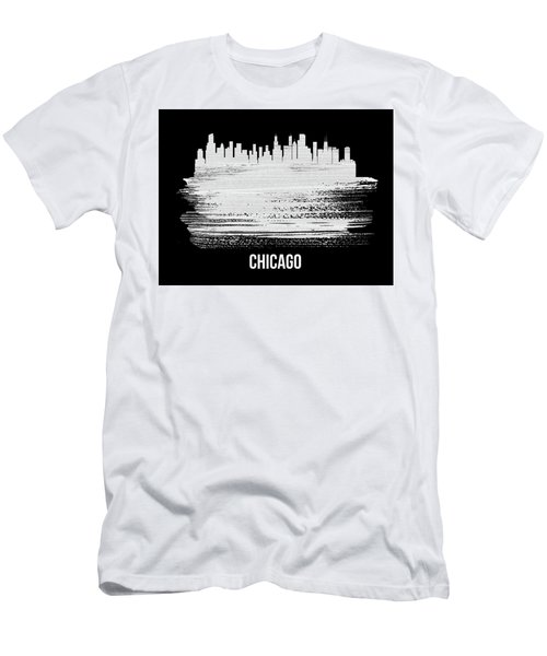 Chicago Skyline Brush Stroke White Men's T-Shirt (Athletic Fit)