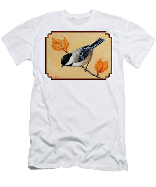 Chickadee And Autumn Leaves Men's T-Shirt (Athletic Fit)
