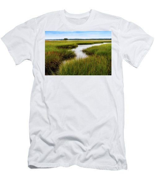 Men's T-Shirt (Athletic Fit) featuring the photograph Choate Is. Estuary Ipswich Ma. by Michael Hubley