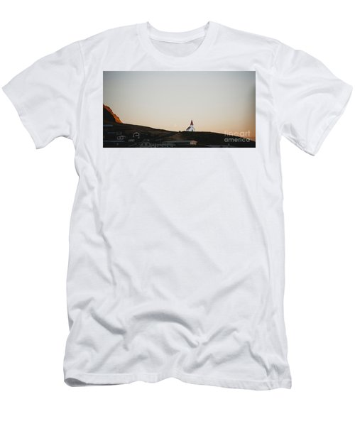 Church On Top Of A Hill And Under A Mountain, With The Moon In The Background. Men's T-Shirt (Athletic Fit)