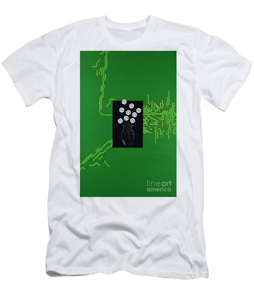 Men's T-Shirt (Athletic Fit) featuring the painting Circuit Board Bouquet by Mary Scott