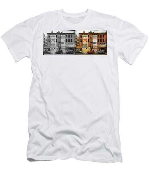 Men's T-Shirt (Athletic Fit) featuring the photograph City - New York Ny - Elite Lunch Bar 1938 - Side By Side by Mike Savad