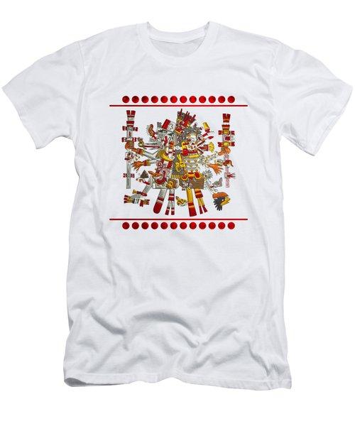 Codex Borgia - Aztec Gods - Quetzalcoatl Wind God With Mictlantecuhtli God Of Death On Vellum Men's T-Shirt (Athletic Fit)