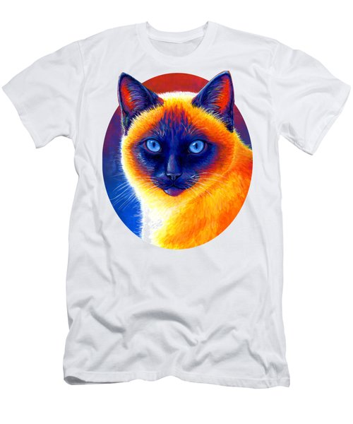 Colorful Siamese Cat Men's T-Shirt (Athletic Fit)