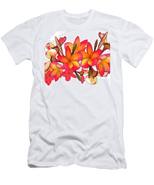 Coloured Frangipani White Bkgd3 Men's T-Shirt (Athletic Fit)