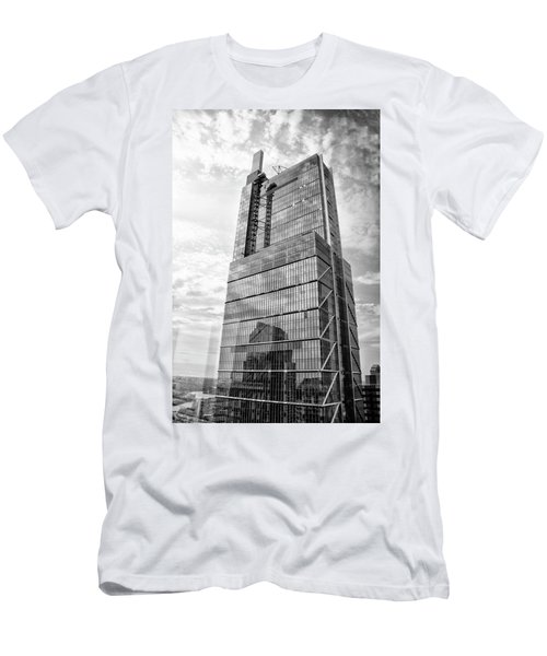 Men's T-Shirt (Athletic Fit) featuring the photograph Comcast Technology Center - Philadelphia In Black And White by Bill Cannon