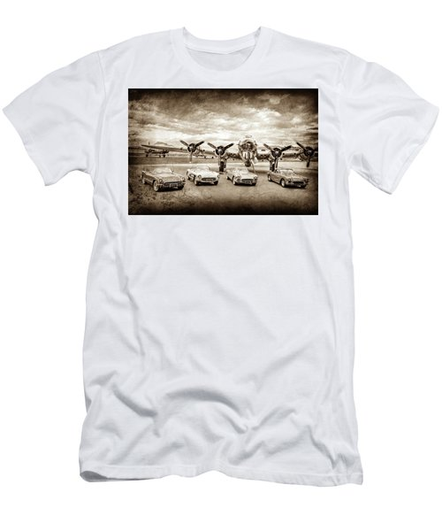 Men's T-Shirt (Athletic Fit) featuring the photograph Corvettes And B17 Bomber -0027s by Jill Reger