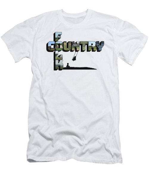 Country Folk Big Letter Graphic Art Men's T-Shirt (Athletic Fit)