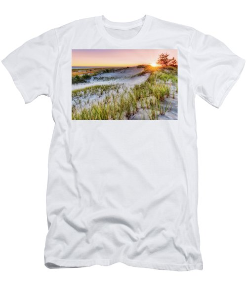 Men's T-Shirt (Athletic Fit) featuring the photograph Crane Beach, Dune Grass Sunrise  by Michael Hubley