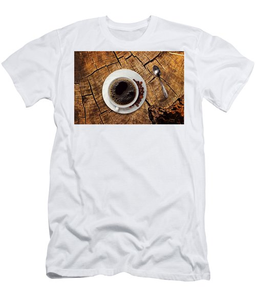 Cup Of Coffe On Wood Men's T-Shirt (Athletic Fit)