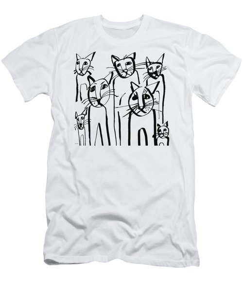 Curious Cats-  Art By Linda Woods Men's T-Shirt (Athletic Fit)