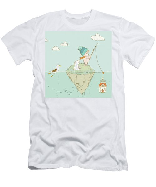 Men's T-Shirt (Athletic Fit) featuring the painting Cute Little Bear Goes Fishing by Matthias Hauser