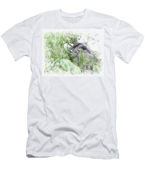 Men's T-Shirt (Athletic Fit) featuring the digital art Cute Little Bird On Tree by Eduardo Jose Accorinti