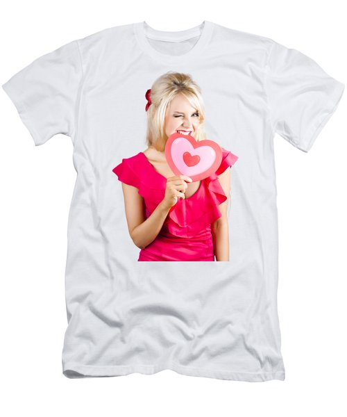 Cute Woman Biting Big Red Love Heart Men's T-Shirt (Athletic Fit)