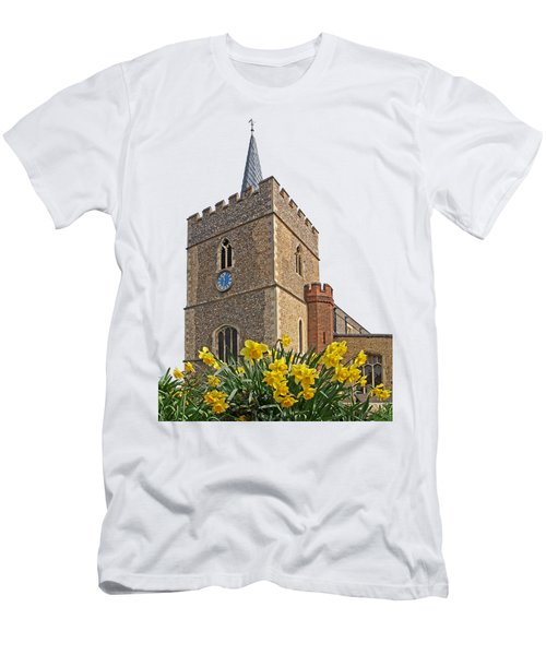 Daffodils Blooming At St. Mary's Church Men's T-Shirt (Athletic Fit)