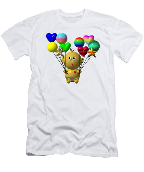 Dark Skinned Bouncing Baby Boy With 10 Balloons Men's T-Shirt (Athletic Fit)