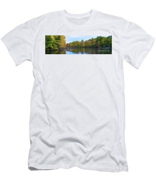 Davidson's Mill Pond Autumn Panorama  Men's T-Shirt (Athletic Fit)