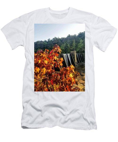 Men's T-Shirt (Athletic Fit) featuring the photograph De Soto Falls In Autumn by Rachel Hannah