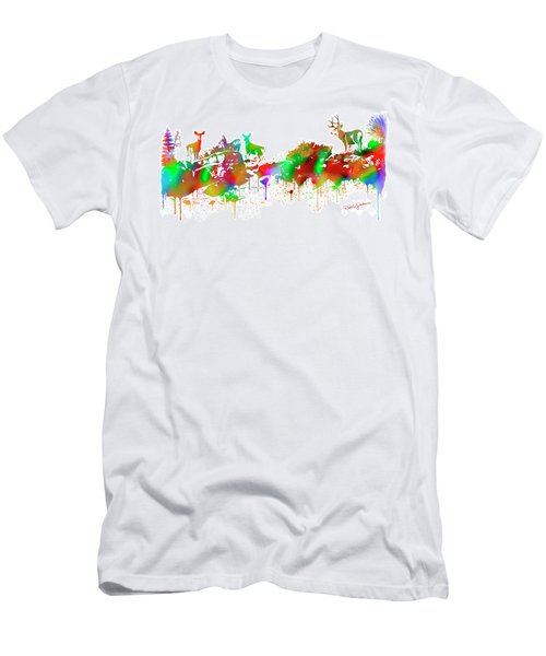 Deer Skyline Drip Panel Men's T-Shirt (Athletic Fit)