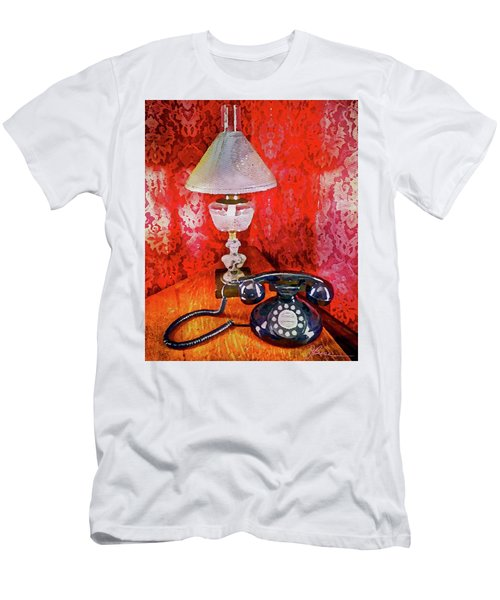 Men's T-Shirt (Athletic Fit) featuring the painting Dial Up Telephone by Joan Reese