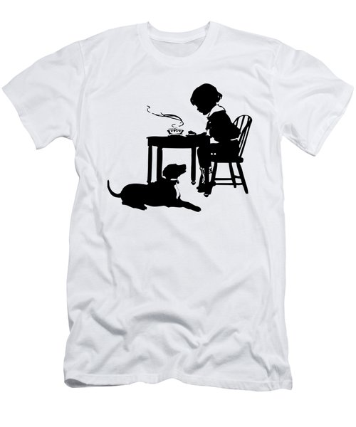 Dining With The Dog Silhouette Men's T-Shirt (Athletic Fit)