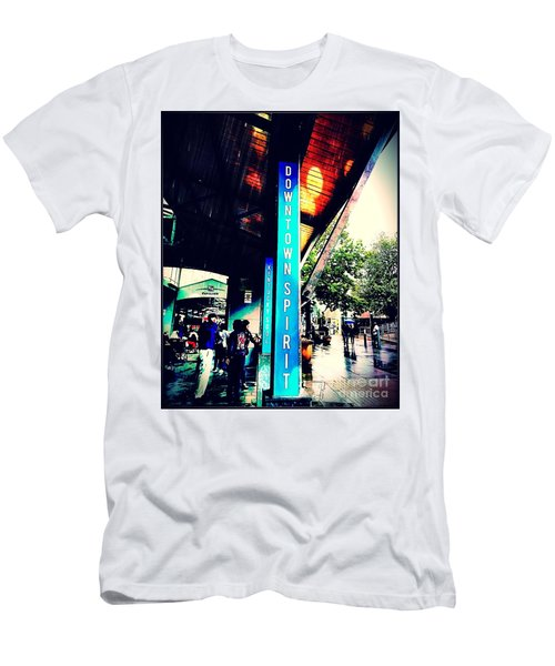 Men's T-Shirt (Athletic Fit) featuring the mixed media Downtown Spirit, Kentucky Soul by Rachel Maynard