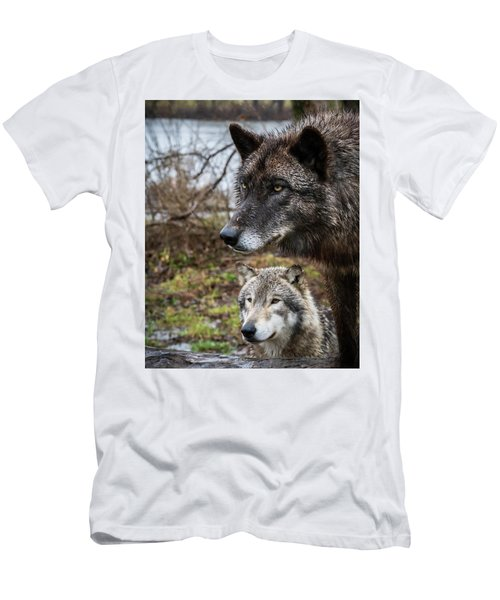 Dual Wolves Men's T-Shirt (Athletic Fit)