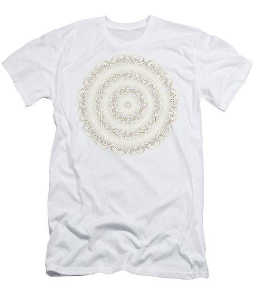 Men's T-Shirt (Athletic Fit) featuring the painting Elegant Golden Mandala Buddhist Symbol by Georgeta Blanaru